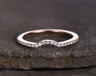 Sterling silver ring/Cubic Zirconia wedding band/CZ wedding ring/stackable ring/Matching band/rose gold plated/Curved half moon gap ring