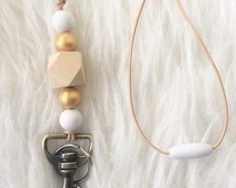 Gold Lanyard - Beaded Key Lanyard - Metallic lanyard - Key Chain - Teacher lanyard - Admin lanyard - wooden bead lanyard - key chain