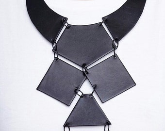 Leather Necklace, Unique Necklace, Gift For Her, Black Necklace, Black Leather Jewelry, Black Body Necklace, Bib Necklace, BDSM Collar