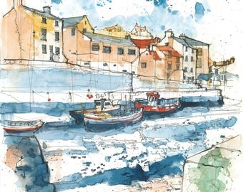 Boats on Roxby Beck, Staithes, North Yorkshire