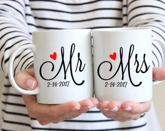 Mr and Mrs Mugs | His and Hers Mugs | Wedding Mugs | Couples Mug Set | Gift for Newlyweds | Set of 2 Coffee Mugs | Wedding Gift