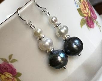 Duo Pearl & Grey Pearl Sterling Silver Earrings
