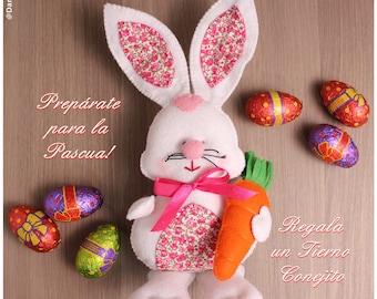 Easter Bunny in felt, rabbit felt, Felt Bunny Rabbit Easter, Easter gift, Easter