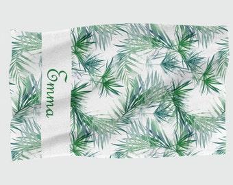 Personalised Beach Towel - Tropical Leaves