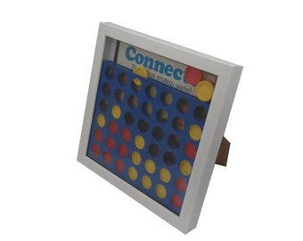 Connect 4 Board Game Framed Upcycled Art