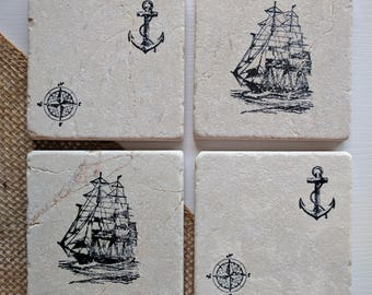 Nautical Stone Coasters, Ship and Anchor Coasters, Compass, Ocean lover, Beach House Decor, Boat Lover Gift, Boat House Decor, Tall Ship