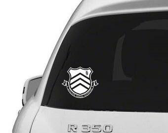 Persona 5 Decal- Syujin High School Logo White
