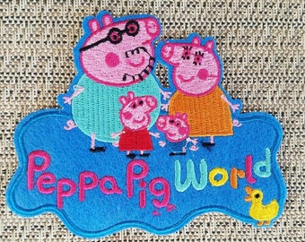 Peppa pig world iron on inspired patch, Peppa pig birthday party inspired patch