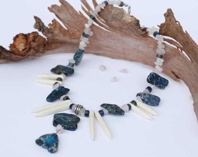 Blue necklace, Beaded necklace, Blue pendant, Statement necklace, Pendant necklace