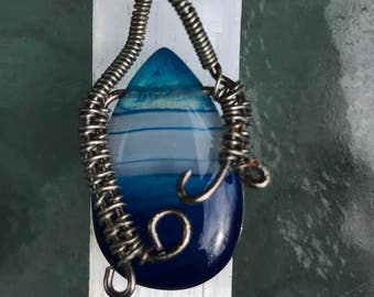 CLEARANCE SALE 25% off Wire-Wrapped Agate Pendant