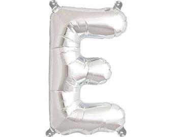WHOLESALE - 25 x Letter E  Silver Balloon (W/ Holes)