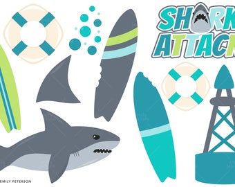 Shark, Ocean, Surfboard - Cute Clipart, Clip Art - Commercial Use, Instant Download