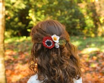 Gancho de flores para el pelo de niña, flores para el pelo, adorno de flores para el cabello, accesorio para el pelo de flores de fieltro