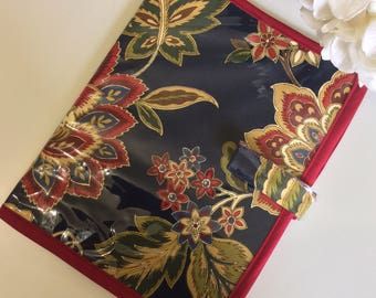 Dark Floral Navy and Red Jw Magazine and Tract Holder, with Plastic Cover and magnetic button