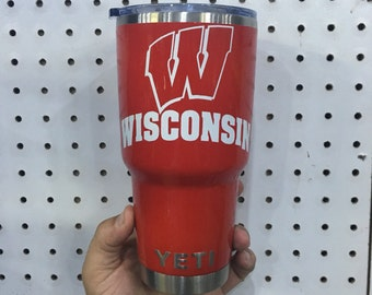 Custom Wisconsin Badgers Yeti 30 oz Rambler Cup Powder Coated Red/White