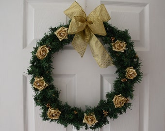 Christmas Wreath with Pearlised Gold roses, Gold berries and large gold ribbon bow