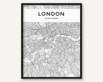 London Map Print, London Poster, London Wall Art, London City Map, Black and White Map of London Printable, London Map, UK, United Kindgom