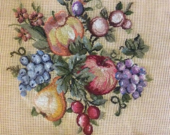 Pettipoint Preworked Needlepoint Canvas of Fruit to Complete Unfinished