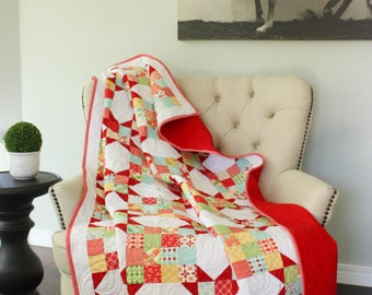 Lap Quilt, Quilted Throw, Red Quilt, Sofa Quilt