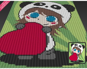 Panda Girl crochet blanket pattern; c2c, cross stitch; knitting; graph; pdf download; no written counts or row-by-row instructions