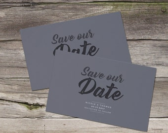 Gray and White Save the Dates