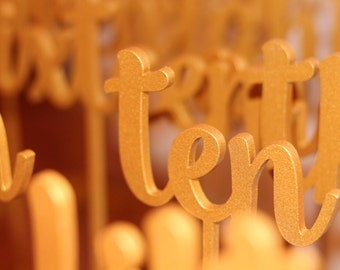 Gold Table Numbers  - Wedding Table Number - Golden table numbers - Table Number - Table Numbers - Freestanding