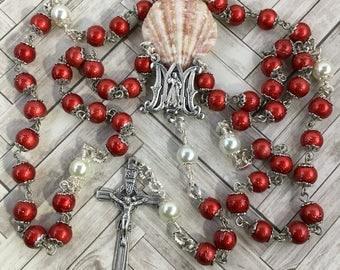 Divine mercy rosary, red rosary, catholic gift, St. Faustina rosary, Chaplet rosary, divine mercy chaplet, Easter rosary, catholic rosary
