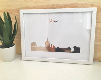 Rose Gold Rome Cityscape/ Skyline Print With Frame Included