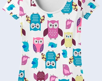 Owls T Shirt, Birds Tee Shirt, White T Shirt, Ladies Top, Owls Funny Gift, Cute T Shirts, Funny Tee