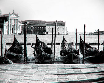 Venetian Gondolas Floating in the Water, Venice, Italy, Europe, Travel, Black & White Photography, Fine Art Print, Wall Decor