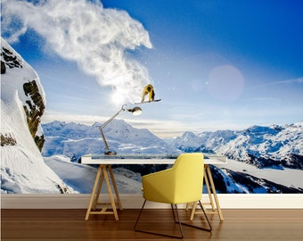 SNOW WALL MURAL, snow wall decal, extreme wallpaper, snowboard wallpaper, self-adhesive vinly, mountains wallpaper, extreme snowboard