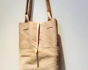 shopper   Tote   Beige   saddle leather