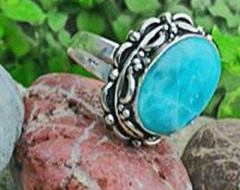 Lavish Larimar 925 Silver ring, size US 8.75 or 57.75