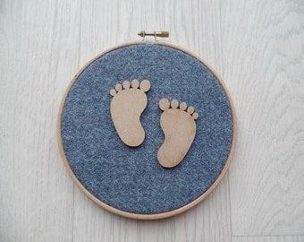 Harris tweed baby foot print wall hanging