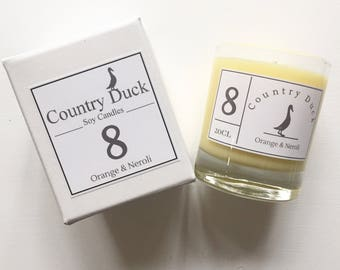 Limited edition Orange & Neroli Soy Boxed Candle - 20cl Hand made in Devon. Eco friendly vegan candle.
