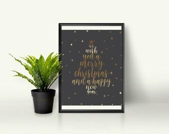 Printable Christmas Poster, Christmas Wall Art, Instant Download, Christmas Poster, Christmas Print, wall Art Printables, Christmas tree