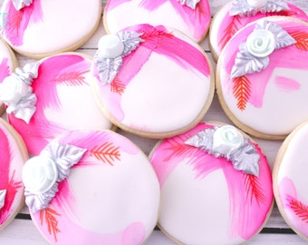 Abstract Rose Decorated Cookies - One Dozen