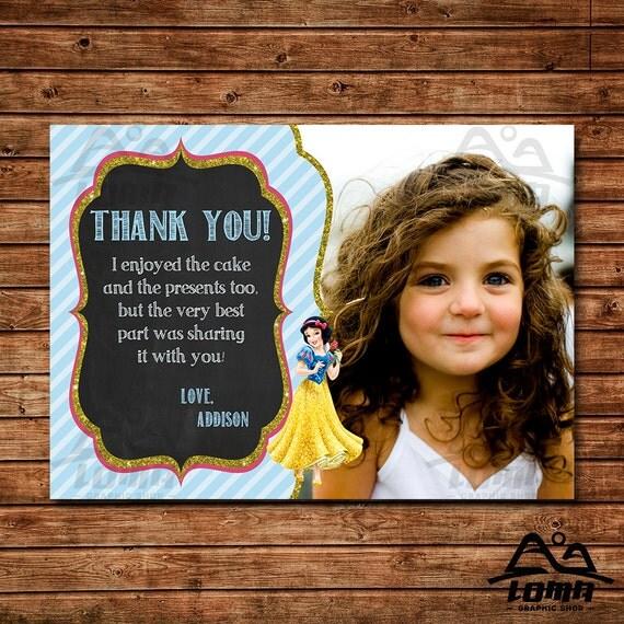 Snow White Birthday Thank You, Snow White Birthday, Disney Princess Thank You, Princess Birthday Thank You, Snow White and Seven Dwarfs