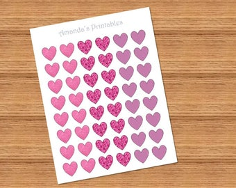 """Printable 1"""" Pink Heart Planner Stickers"""