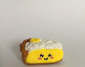 Pie pendant with lemon kawaii in polymer clay