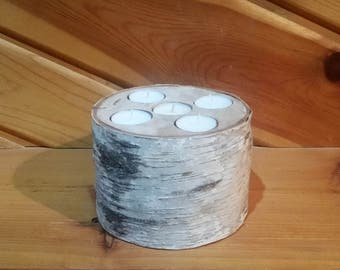 White Birch Tea Light Holder, 5 Tea Light Candle Holder, Rustic Candle Holder, Candleholder, Wood Candle Holder, Home Decor, Holiday Decor