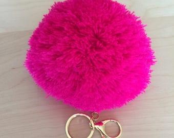 New Jumbo Pink Yarn Pom Pom Keychain