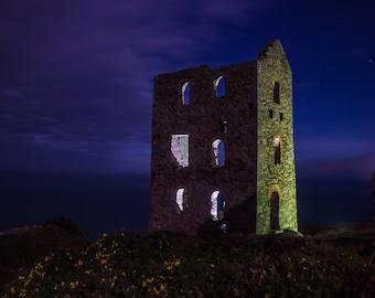 Midnight photography, Architechture print, purple decor, mauve wall art, abandoned building, light print, 'Midnight Mine', Cornwall print