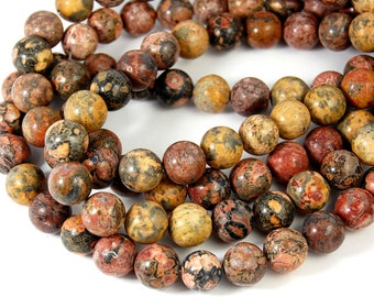 "Two 15"" strands Leopard Skin Jasper 10mm"