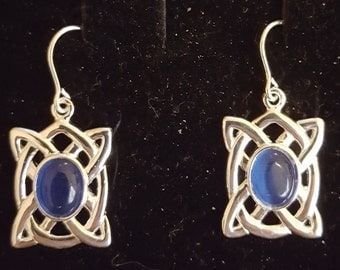 Pair of Celtic sterling silver and 8x6mm blue catseye gemstone drop earrings