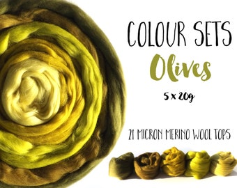 Wool tops - Olive 21 micron Merino wool - shade selection - 5 x 20g/0.7oz - (100g/3.5oz) - OLIVES