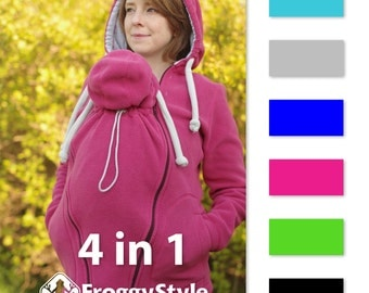 4-in-1 Front/Back Babywearing Jacket FROGGY STYLE kangaroo hoodie fleece coat, pink, for mom and baby,for carrier (tula, ergobaby) or sling