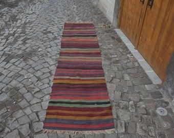Free Sgipping! 2.4 ft x 10.5 ft Striped Kilim Rug Handmade Turkish Kilim Rug Vintage Kilim Rug Anatolian Turkish Decorative Kilim Rug