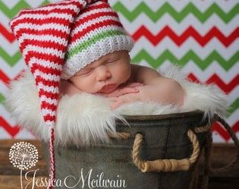 Baby Christmas Pixie Hat, Knit Christmas Baby Hat, Christmas Baby Santa Hat, XMAS Baby Hat, Knit Baby Elf Hat, Newborn Christmas, Photo Prop