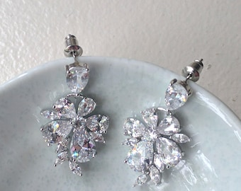 Bridal cubic zirconia silver earrings - Elva